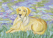Water Lilies Framed Prints Prints - Bonet - Golden Retriever and Water Lilies Print by Gretchen Kish Serrano