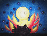 Night Pastels - Bonfire Moon by Gabrielle Watkins