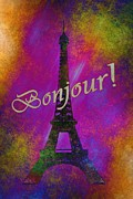 France Mixed Media Framed Prints - Bonjour Framed Print by Todd and candice Dailey