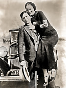 Gangster Metal Prints - BONNIE and CLYDE - TEXAS Metal Print by Daniel Hagerman