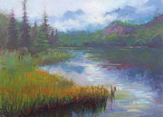 Harmony  Painting Posters - Bonnie Lake - Alaska misty landscape Poster by Talya Johnson
