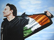 U2 Painting Metal Prints - Bono Flag Metal Print by Mark Baker