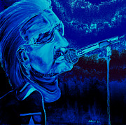 U2 Painting Metal Prints - Bono in Blue Metal Print by Colin O neill