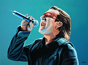 Irish Rock Band Metal Prints - Bono of U2 Metal Print by Paul Meijering