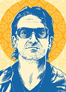 Pop Music Posters - Bono Pop Art Poster by Jim Zahniser