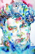 U2 Painting Metal Prints - Bono Watercolor Portrait.1 Metal Print by Fabrizio Cassetta