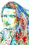U2 Painting Metal Prints - Bono Watercolor Portrait.2 Metal Print by Fabrizio Cassetta