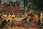 Table Cloth Metal Prints - Bononi Carlo, The Marriage At Cana Metal Print by Everett