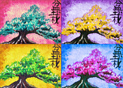 Japanese Art Digital Art Prints - Bonsai Pop Art Print by Shawna  Rowe