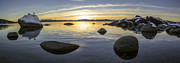 Sand Harbor Photos - Bonsai Rock Sunset by Brad Scott