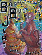 Ape Mixed Media Posters - Boo Boo Jams Bar And Grill Poster by Roy Kenen