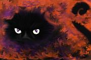 Witch Halloween Cat  Wicca Posters - Boo Poster by Roxy Riou