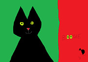 Happy Black Cats Posters - Boogie Poster by Anita Dale Livaditis