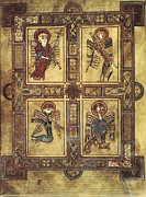 Celtic Art Prints - Book Of Kells. 8th-9th C. Fol.27v Print by Everett