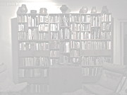 Library Digital Art - Bookcase with Pots Faded by Diane Phelps