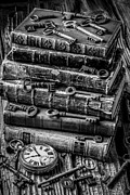 Watches Framed Prints - Books And Keys Black and White Framed Print by Garry Gay