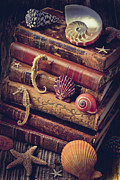 Seahorses Prints - Books and sea shells Print by Garry Gay