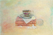 Doily Framed Prints - Books from Childhood Framed Print by Kay Pickens