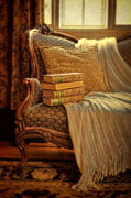 Settee Prints - Books on Victorian Sofa Print by Jill Battaglia