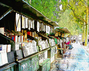 Seine Digital Art - Booksellers Along the Seine by Karen  Burns