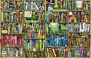 Fantasy Illustrations Prints - Bookshelf Print by Colin Thompson