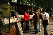 Shoulder Bag Prints - Bookstalls on Left Bank Print by Carl Purcell