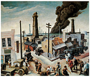 American City Scene Framed Prints - Boomtown Framed Print by Thomas Hart Benton