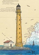 East Coast Lighthouse Paintings - Boon Island Lighthouse ME Chart Art Cathy Peek by Cathy Peek