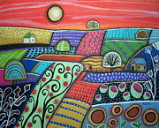 Folk Art Abstract Prints - Boondocks Print by Karla Gerard