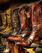 Leather Boots Posters - Boot Rack Poster by Michael Pickett