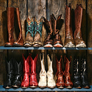 Cowgirl Photos - Boot Rack by Olivier Le Queinec