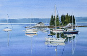 White Pennant Prints - Boothbay Harbor Reflections Print by Karol Wyckoff