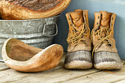 Wooden Bowl Prints - Boots and Bowls Print by Dawna  Moore Photography