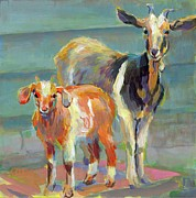 Goat Paintings - Boots and His Mama by Kimberly Santini