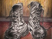 Hall Pastels Posters - Boots in the Hall way Poster by Teresa White