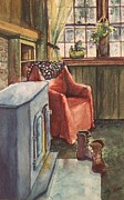 Cabin Window Painting Framed Prints - Boots Framed Print by Joy Nichols