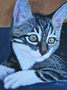 Gray Cat Paintings - Boots Kitten by Shirl Theis