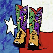 Contemporary Cowboy Paintings - Boots On A Texas Flag by Dale Moses