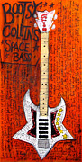 Guitars Paintings - Bootsy Collins Space Bass by Karl Haglund