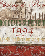 France Posters - Bordeaux Blanc Label 2 Poster by Debbie DeWitt