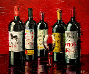 French Wine Bottles Paintings - Bordeaux Collection by EMONA Art