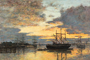 Grey Framed Prints - Bordeaux In the Harbor Framed Print by Eugene Louis Boudin