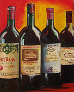 French Wine Bottles Painting Posters - Bordeaux Poster by Sheri  Chakamian
