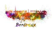 Bordeaux Skyline In Watercolor Print by Pablo Romero