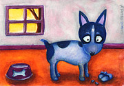 Heeler Paintings - Border collie and shoes by Andrea Pontillo