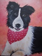 Collie Painting Framed Prints - Border Collie Framed Print by Leslie Manley