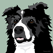 Collie Digital Art Posters - Border Collie Poster by Michael Ferreira