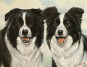 Dry Lake Paintings - Border Collie pair by John Silver