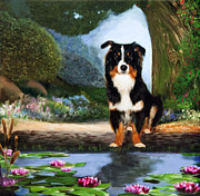 Lilly Pond Painting Prints - Border Collie Portrait  Print by Enzie Shahmiri