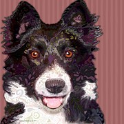 Collie Digital Art Posters - Border Collie Poster by Sharon Marcella Marston